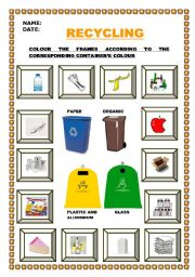 English Worksheet: LET´S RECYCLE