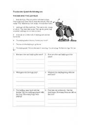 English Worksheet: THE BEE AND THE LADYBUG
