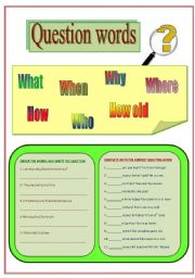 English Worksheets: Question words. Asking questions