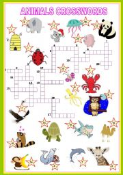 English Worksheets: animals crosswords