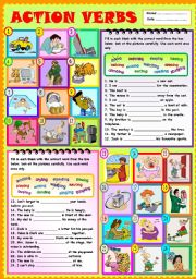 English Worksheet: Action verbs