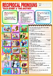 English Worksheet: Reciprocal Pronouns -