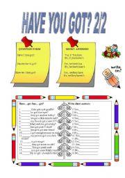 English Worksheet: Have you got?  2/2.