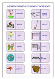 English Worksheet: SPORTS/SPORTS EQUIPMENT DOMINOES