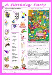English Worksheet: Birthday Party(+key)
