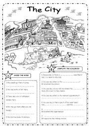 English Worksheets: THE CITY  + Prepositions � B&W