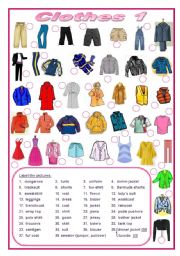 English Worksheets: Clothes (editable)