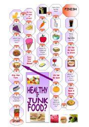 English Worksheet: boardgame : healthy or junk food ?