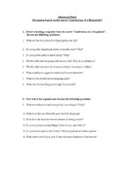 English Worksheet: Movie Confessions of a Shopaholic: questions for discussion