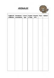 English Worksheet: animal classification according to some characteristics