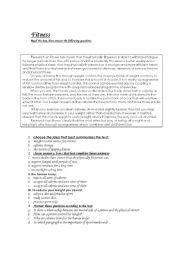 English Worksheet: fitness