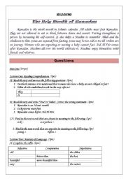 English Worksheets: The Holy month of Ramadhan