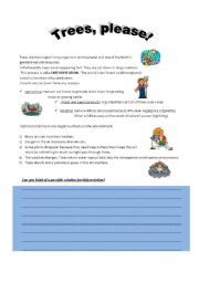 English Worksheet: Deforestation: Why are trees important?1
