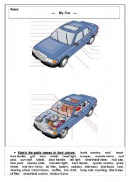 English Worksheet: Parts of The Car