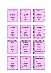 English Worksheets: Taboo cards (6 pages)