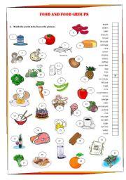 English Worksheet: Food and food groups