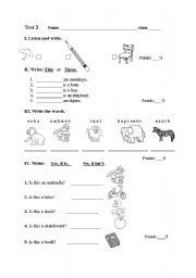 English Worksheet: Test  for 2nd grade