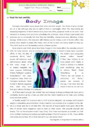 English Worksheet: Body Image - The Influence of the Media: Reading ws for Upper Intermediate & Lower Advanced stds.