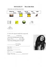 English Worksheet: Bob Marley Three Little Birds