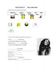 English Worksheets: Bob Marley Three Little Birds