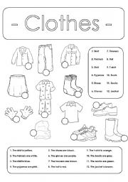 English Worksheets: Number and colour the clothes