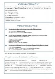 English Worksheet: Adverbs of frequency and prepositions of time