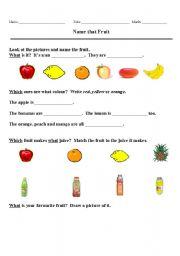 English worksheet: Name that Fruit