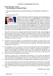 English Worksheet: The flip side of Internet Fame