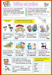 English Worksheet: suffixes and prefixes