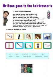 English Worksheets: Mr Bean goes to the hairdresser�s/barber�s