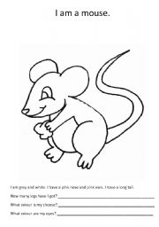 english worksheets a mouse to colour. Black Bedroom Furniture Sets. Home Design Ideas