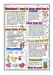 English Worksheets: Worksheet: Valentine´s day (Texts, Activity, Song, Answer Key)