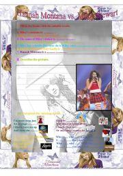 English Worksheet: Hannah Montana vs Miley Stewart
