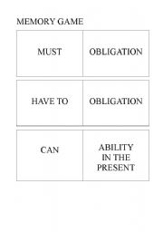English Worksheet: Cards to play the memory game with modal verbs and their uses