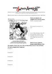 English worksheet: Darwin Awards Website Reading Comprehension