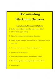 English Worksheets: How to Document Electronic Sources from WWW