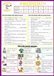 English Worksheets: Personal and Object Pronoun