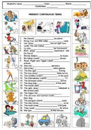 English Worksheet: PRESENT PROGRESSIVE TENSE