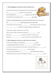 English Worksheet: Will have to/Won�t have to and Will be able to/Won�t be able to