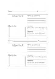 English Worksheets: College Word Worksheet