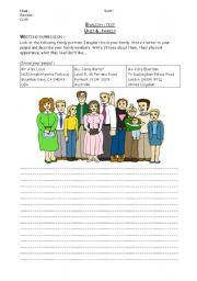 English Worksheets: Family and personal appearance : test - Writing