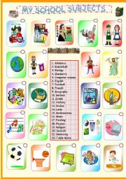 English Worksheet: My School Subjects