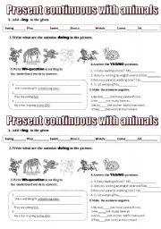 English Worksheets: presnt continuous with animals