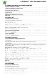 English Worksheet: NICE END OF YEAR GRAMMAR REVISION  --2�BACHILLERATO -- KEY INCLUDED
