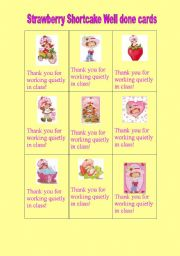 English Worksheets: Strawberry Shortcake Well done cards