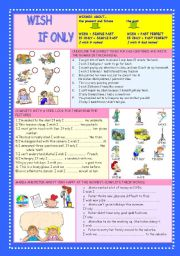 English Worksheet: Wish and If only