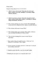 English Worksheets: Battle of the Sexes