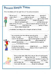 English Worksheet: present Simple (aff, negative)