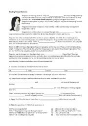 English Worksheets: Reading Comprehension : Penguins
