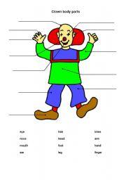 English Worksheets: clown_body parts